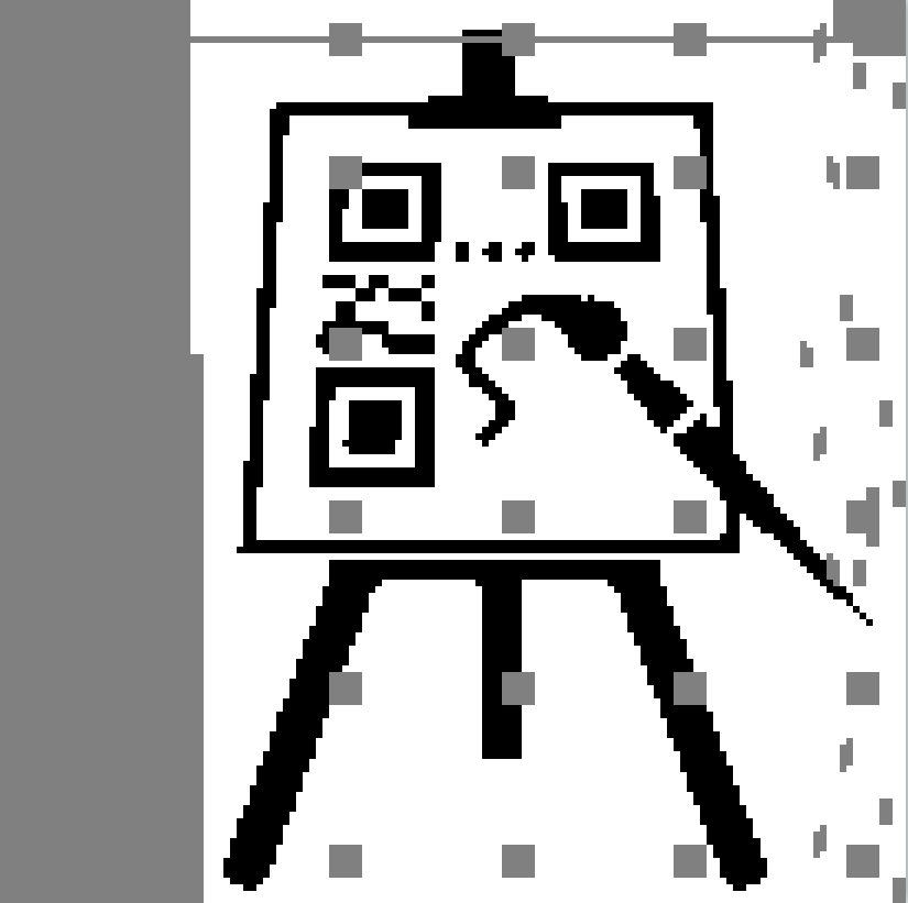 A design for a QR code that contains the My-QR.art logo