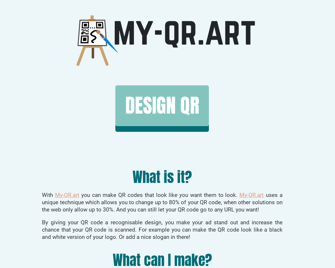 A screenshot of the homepage of My-QR.art